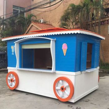 Lovely solid wood coffee vending cart, fruits vending cart for street