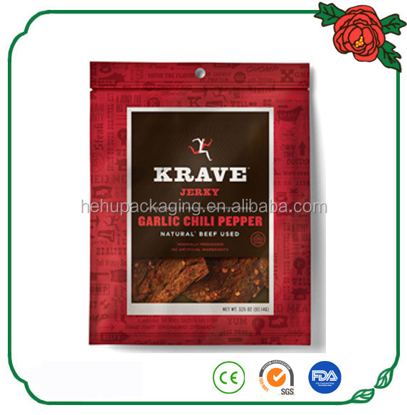 free sample custom resealable stand up meat jerky bag with clear window