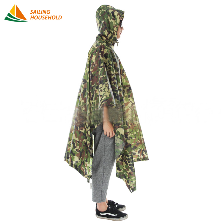 Good price siamese camouflage outdoor pvc military rain coat poncho