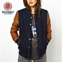womens varsity jacket with PU sleeves AD2108