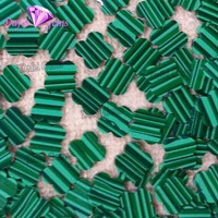 Wholesale Double Flat Four Leave Clover Synthetic Malachite Stone