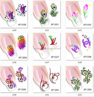 free shipping 1000pcs 7*6cm XF feather & buffly design sticker nail art Salon DIY nail art product