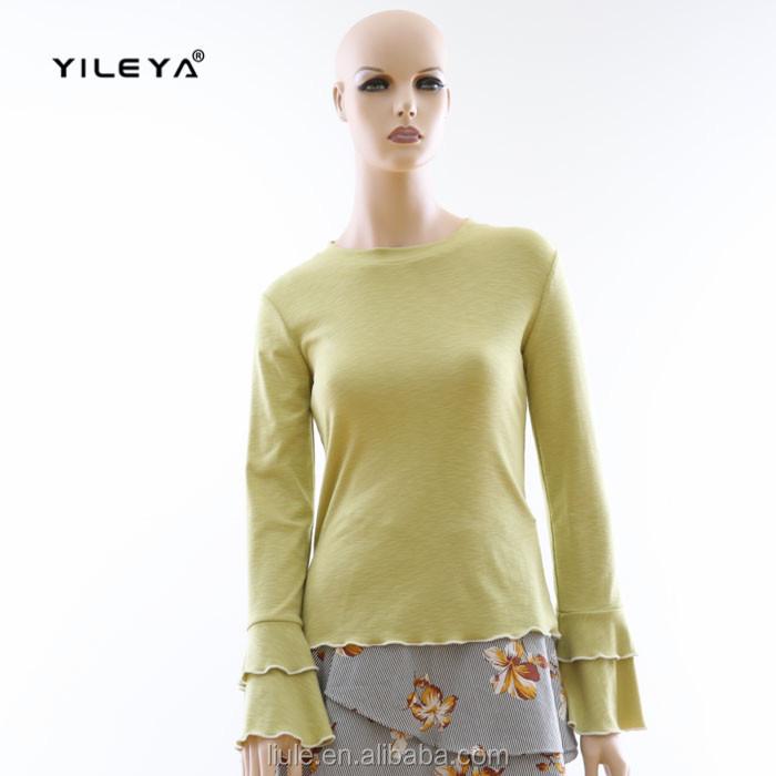 green warm fashion cotton long sleeved tops for ladies with double layer cuffs