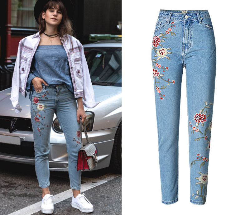Z83716B ladies jeans pants top design choza wholesale china flower embroidery jeans