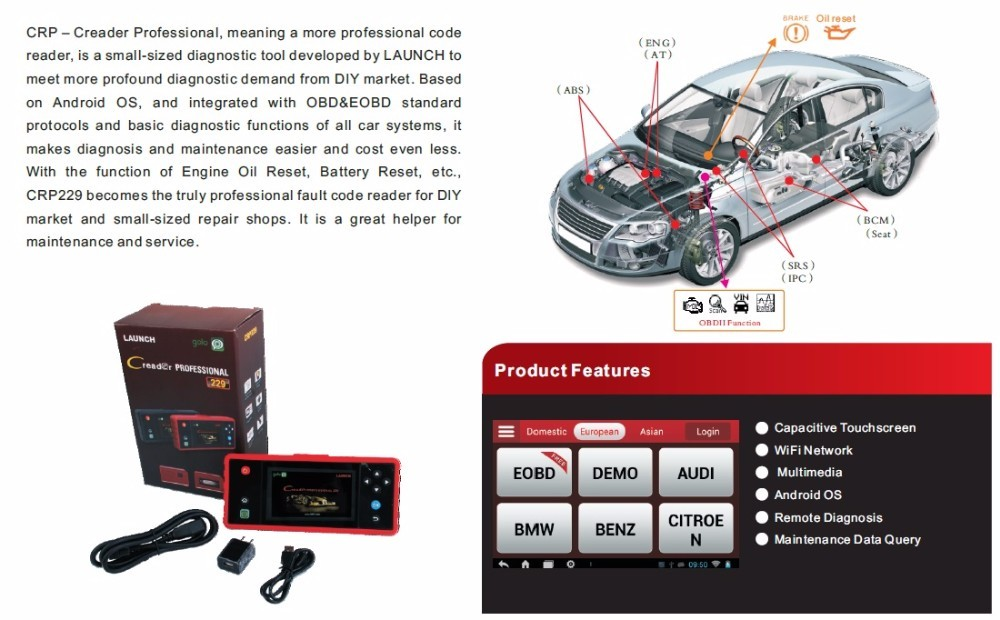 "New Launch x431 Creader CRP229 Touch 5.0"" Android System OBD2 Full Diagnostic Update Online Wifi Supported CRP 229 Code Reader"