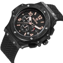2017 hot selling mens military style silicone band sport watch chronograph watch