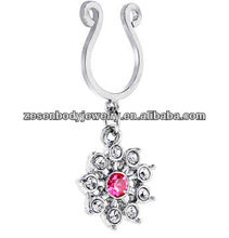 Crystalline Pink GEM SNOWFLAKE CLIP ON Nipple Ring