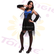 China wholesale high quality halloween sexy angel costume adult party dress with wing and oversleeve