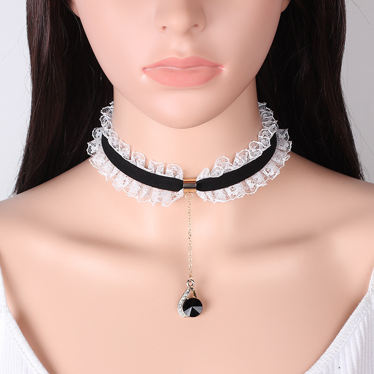 Special <strong>Fashion</strong> For Ladies' PArties Black Pearl leather choker necklace