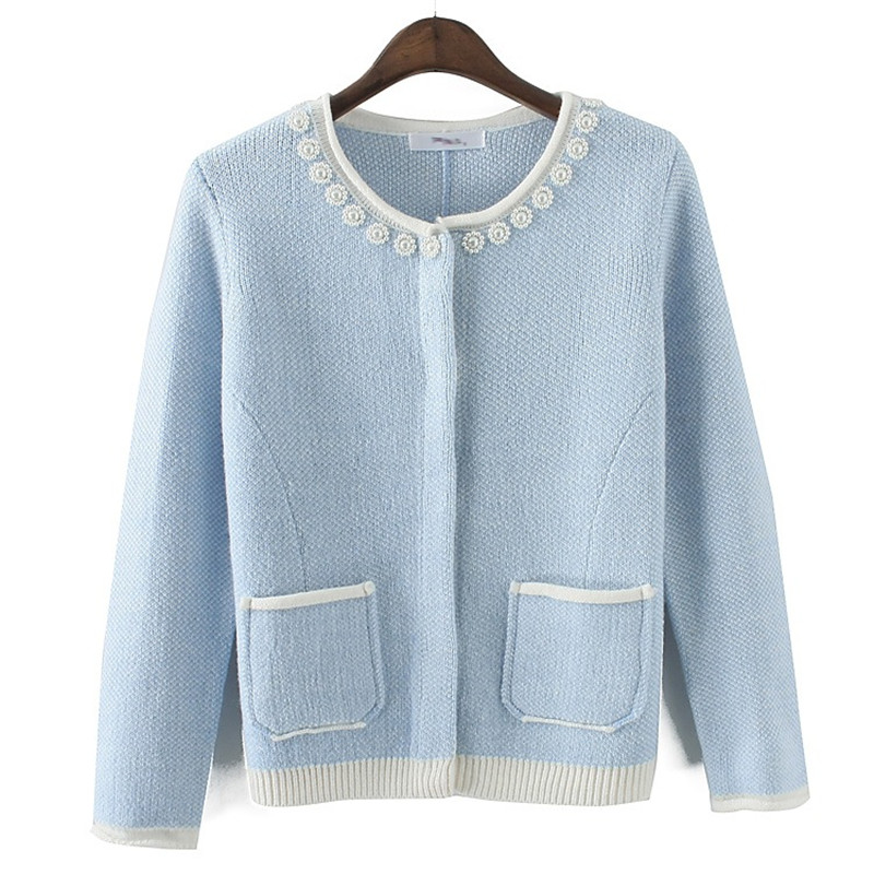Retail Knitted Cardigan Women Sweater 2015 Coat Tunic Outwear Korean Winter Clothes Pocket Slim Fashion Free Shipping