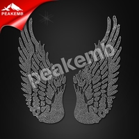 Hot Sale Rhinestone Motif Hotfix Angel Wings Transfer Design for Clothing