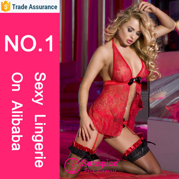 china supplier sexy item hot red babydoll sexy sleepwear sexy silk nighty