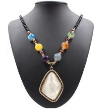 New Design Sweather Jewelry Big White Stone Pendant Beaded Scarf Necklace