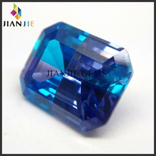 Customized blue fire opal jewelry emerald cut multicolor cubic zirconia