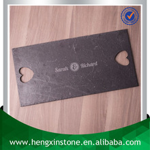 Factory Direct Sales 50*20*0.7cm Rectangle Black Slate Cheese Serving Board With Heart Handle (Custom Laser Design)
