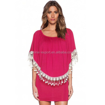 JPSKIRT1508440 2016 Fashion Short Sleeve Tassels Design Mini Dress