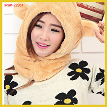 Thick And Soft Shawl Winter Warm Hooded Scarves hat one piece And Mittens For Women many Colors