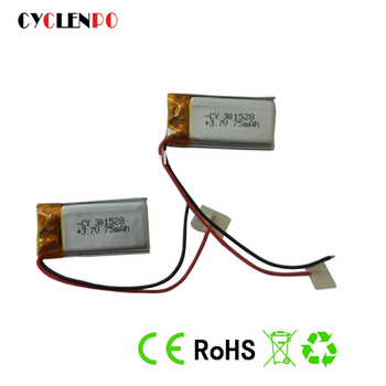 PL301528-75mah electric 601218 3.7v 70mah li-polymer battery for bluetooth headset lipo battery