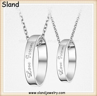 Hot Trend Best selling 925 sterling silver ring necklace/love forever wedding ring couple necklace