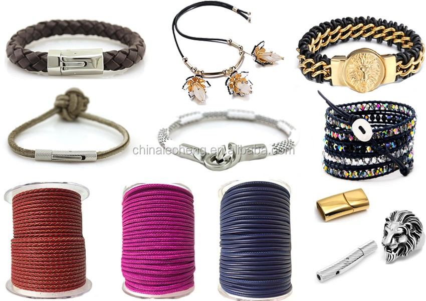 fashion colorful 8mm leather rope for jewelry