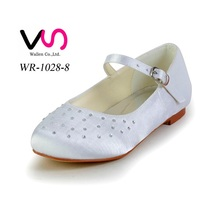 Crystal flat communion shoes for kids flower girls
