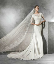 New Style Custom Made Elegant White V Neck Simple Long Sleeve Bride Wedding Dress