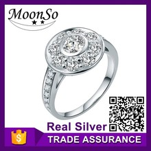 Factory price wholesale MOONSO big plain ring base designs platinum plated KR1931S