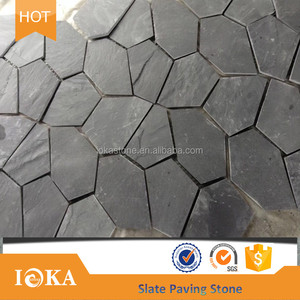 Best price of black slate crazy paving stone for walling and flooring