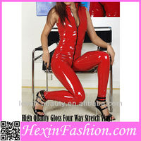 Wholesale Stand Collar Full Body Shaping Red Leather Catsuit