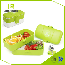 Free sample single layer food lunch box with spoon&ampfork