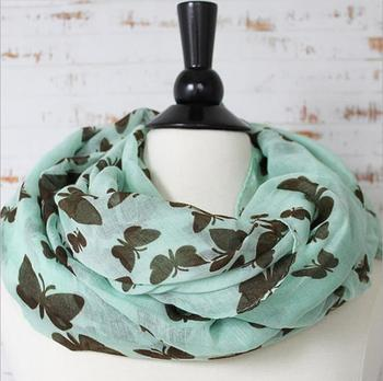 fashion womens woman hippie butterfly print infinity scarf