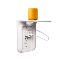 NEW space saving wall ultimate outlet <strong>shelf</strong> for storage electronics using upper socket
