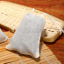 Organic cotton gauze fabric package bag cotton tea bag with drawstring