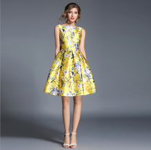 WE1864 design elegant women sleeveless shiny satin floral prom princess party yellow dresses