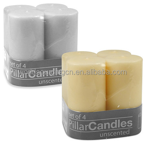2-Inch X 4-Inch Unscented Pillar Candles (Set Of 4)