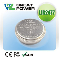 2015 newest 150mah Lithium ion rechargeable button cell LIR2477 4.0V battery