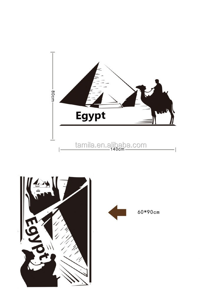 Home Decorative and Removable 3d egypt pyramid/camel wall sticker