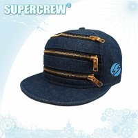 Best Price Jeans Material Custom Baseball Cap Adjustable With 3 Zips Front
