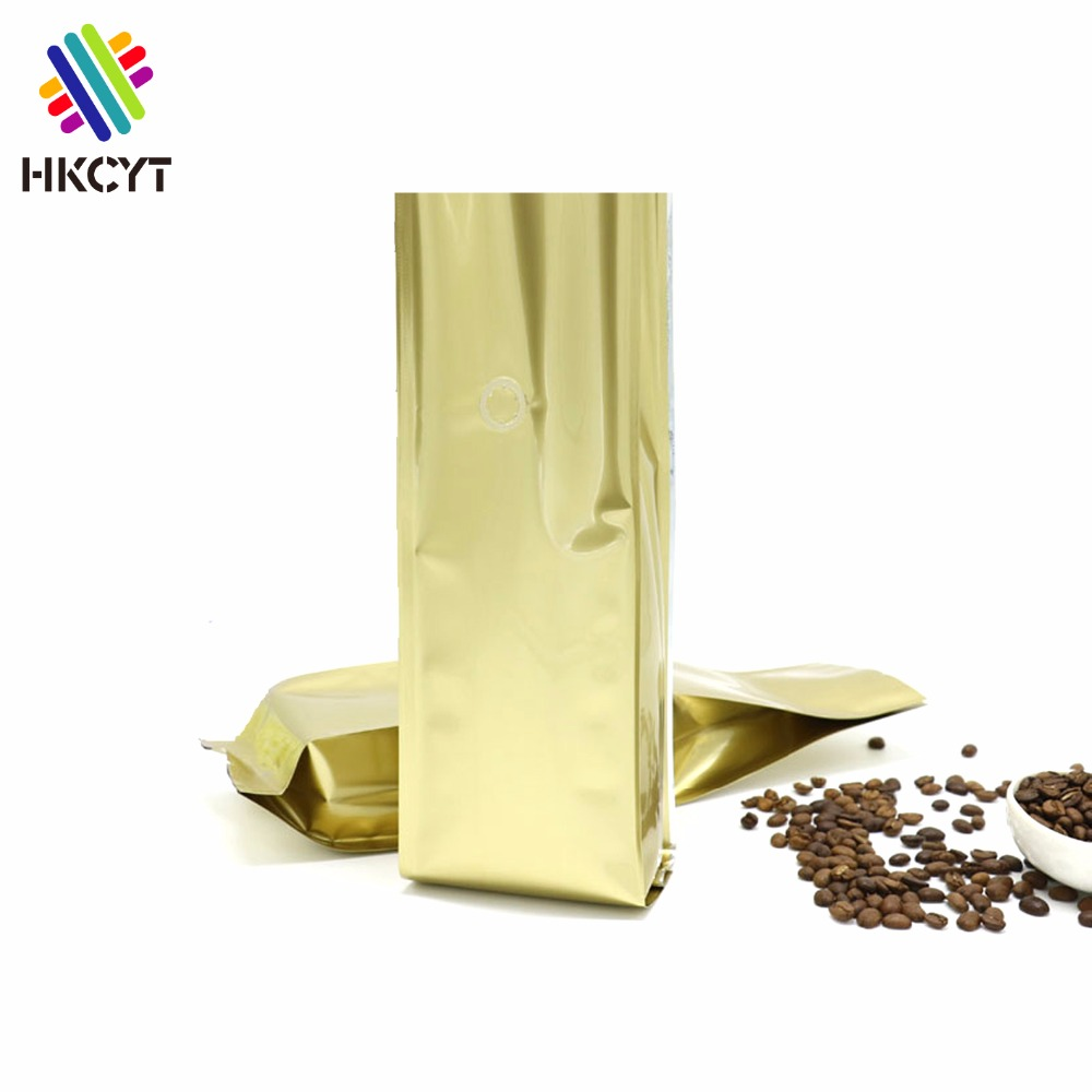 Wholesale Plastic Lined Foil Coffee Bean Pouch / Aluminum Foil Side Gusset Stand Up Packaging Coffee Bag With Valve