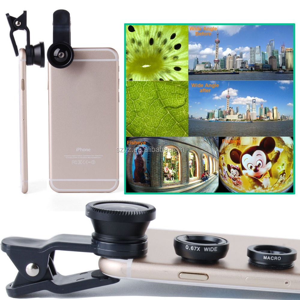 OEM Universal clip 3 In 1 wide Angle Macro Fisheye Mobile Phone Dslr Camera Lens For iPhone 4S 5S 6 For Samsung