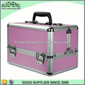 Fashion pink stripe aluminum makeup train case