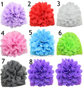 New different colors baby hair decorations chiffon hat