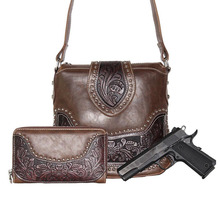 Richmilan--Concealed Carry Tooled Messenger Purse and Wallet - Concealment Weapon Gun Bag - Tooled Crossbody Bag Matching Wallet