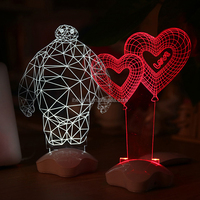 LED 3D vision night light and Acrylic USB Charging Table lamp for Christmas Gift