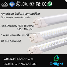 Plug N Play Ballast Compatible UL DLC Listed 1.2m 18W Led T8 Tube