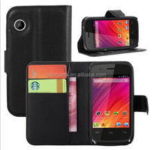 Classical Slim Litchi pattern PU Leather Card slot Wallet flip cover case for wiko ozzy