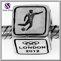 925 sterling silver fashion Athletics square soccer charms wholesale sports charms paracord