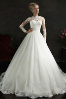 new long sleeve high neck lace ball gown muslim wedding dress 2012