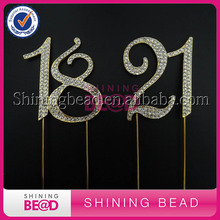 Wholesale 7cm double number birthday gold rhinestone cake topper annversary number cake topper