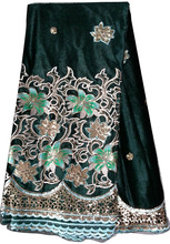 2014 African velvet lace fabric material with embroidery sequins CL9269-3 Nigeria green
